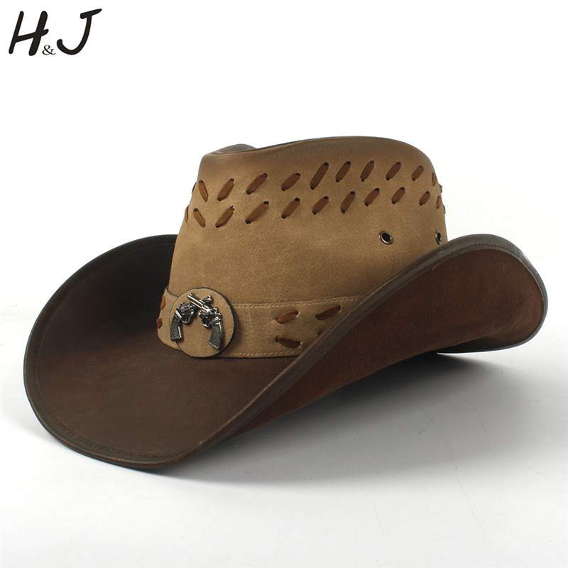 100 Leather Men Western Cowboy Hat Classic Gentleman Dad Cowboy Sombrero Hombre Caps Godfather Hats Size