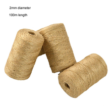 100M Jute Twine Cord 2mm Diameter 3 Ply Hemp Rope Thread for DIY Crafts Rustic Wedding Decor Party Table Decoration Gift Packing