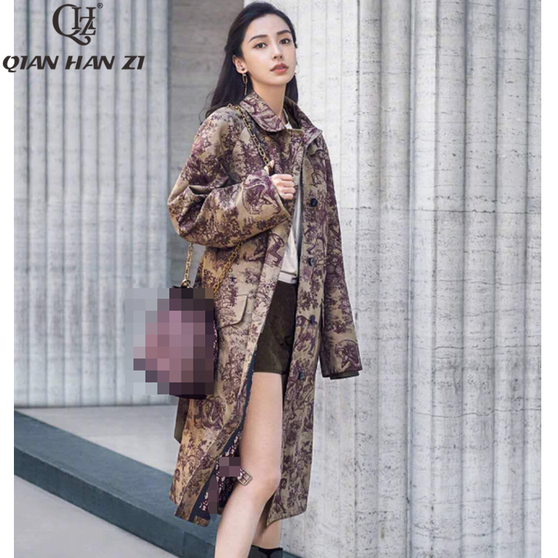 Qian Han Zi 2019 Fashion Women's Casual   trench   coat pattern Print oversize Single Breasted Vintage Washed Outwear Loose Clothing