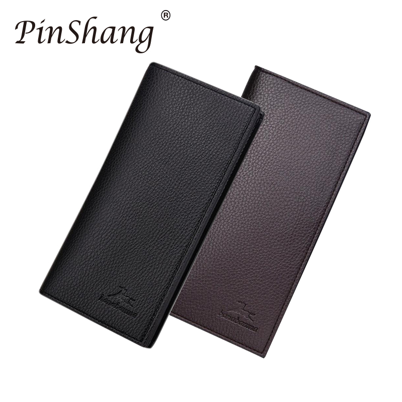 Male Wallets Purse Money-Clip Bifold Long-Clutch Business Slim Cowhide Multifunction