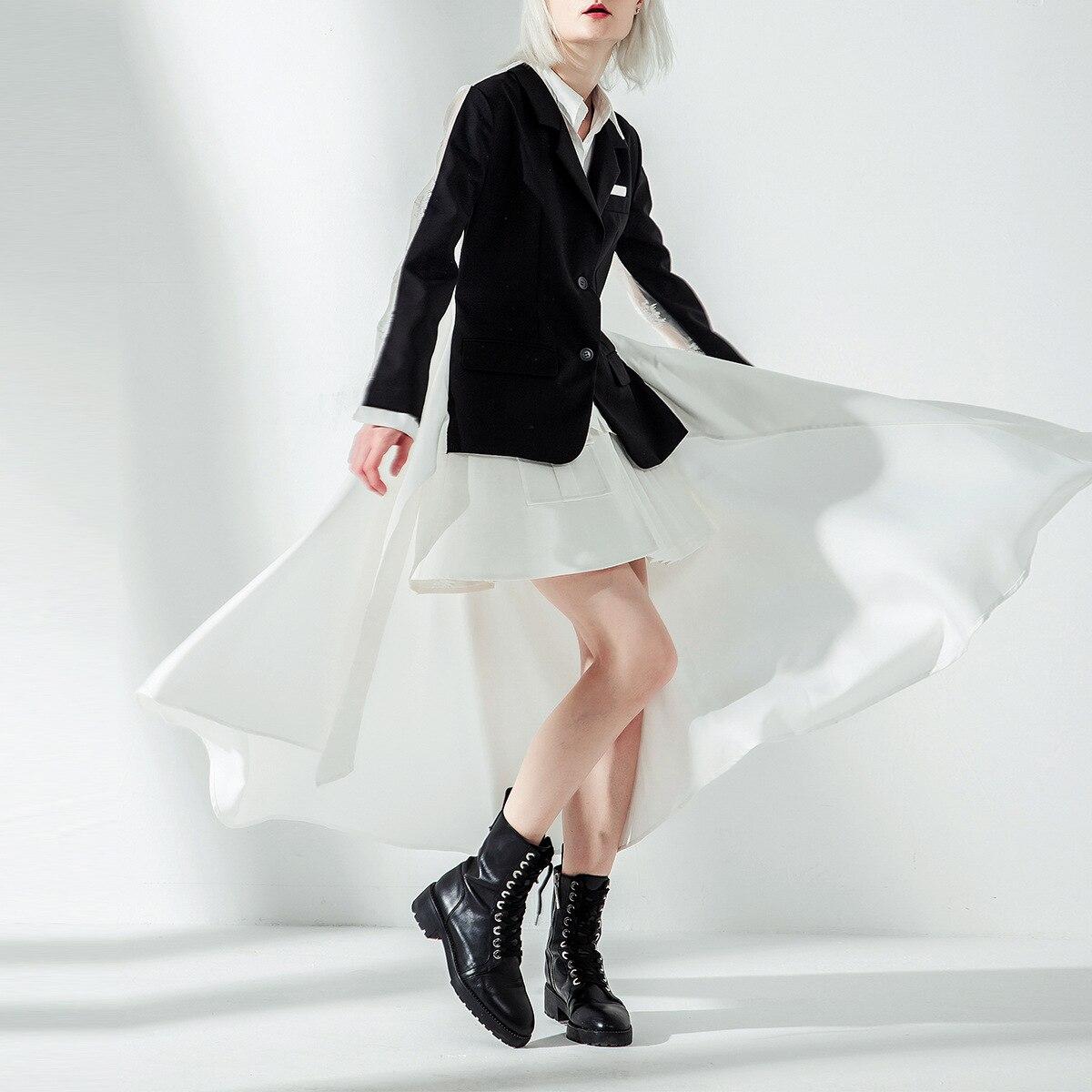 SuperAen Europa Mode Frauen Anzug Jacke Asymmetrische Frühling und Herbst Neue Jacke Weibliche 2019 Gefälschte Zwei stück Frauen Kleidung-in Basic Jacken aus Damenbekleidung bei  Gruppe 2