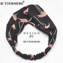 BUTTERMERE Elastic Hair Bands Swan Printing Women Accessories Fashion Headband Black Scrunchie Ladies Ties Headwear