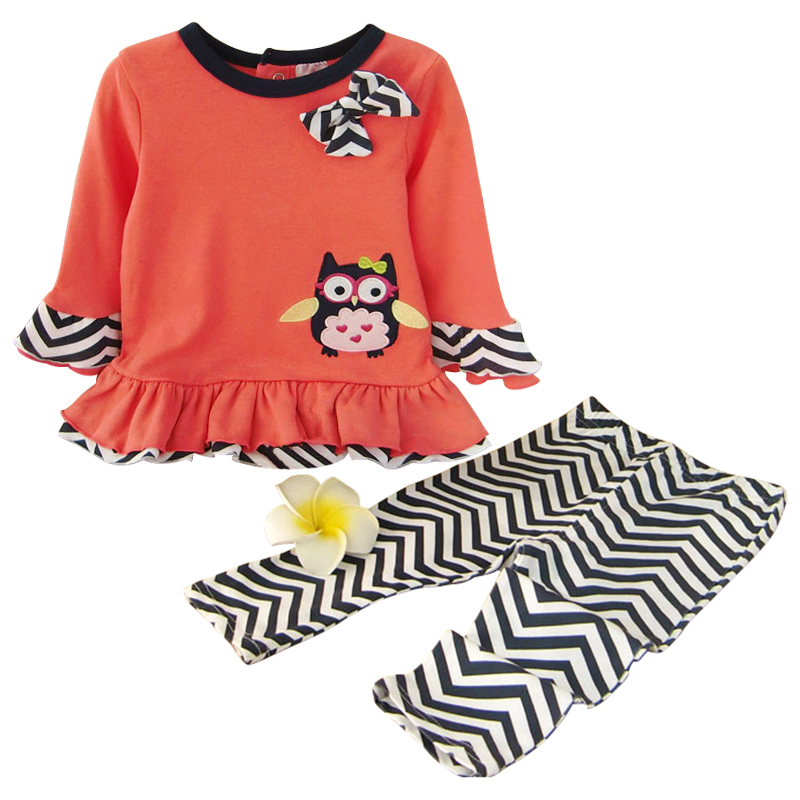 2017 Spring Newborn Baby Girl Cotton Clothing Set Cartoon Bird T shirt Leggings Clothes Sets Infant