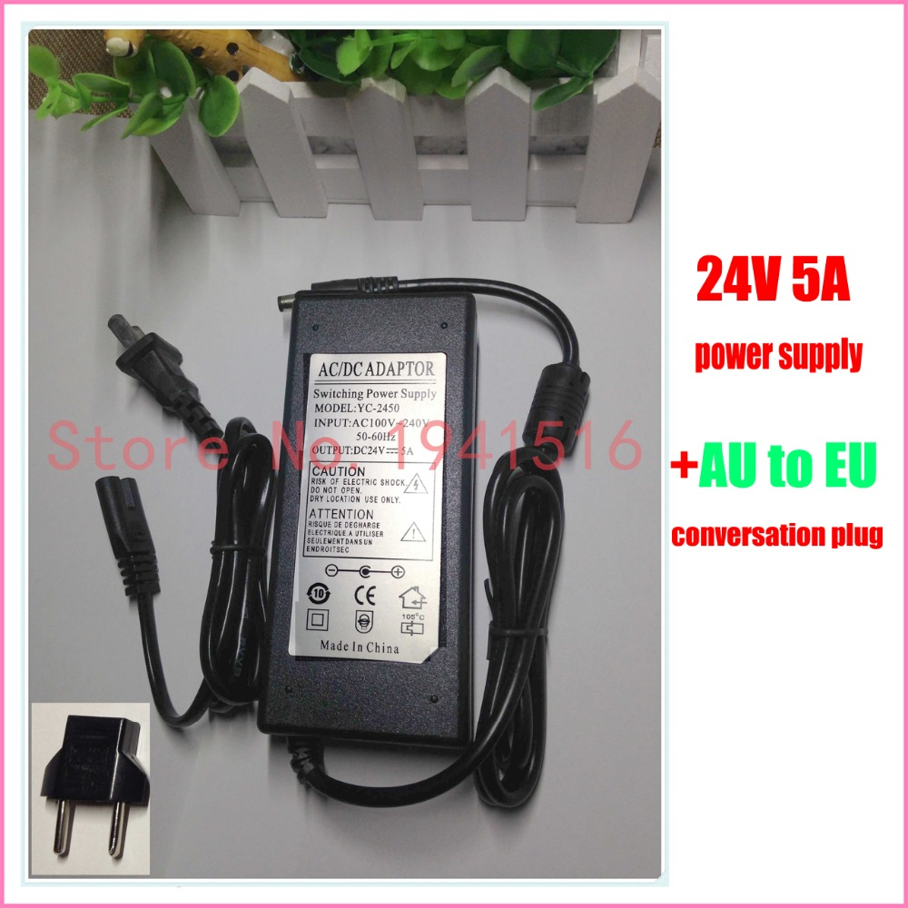 AC/DC Adapter 100-240V Converter Adapter DC 5.5 X 2.5MM 24V 5A 5000mA Charger EU Conversation Plug Power Supply