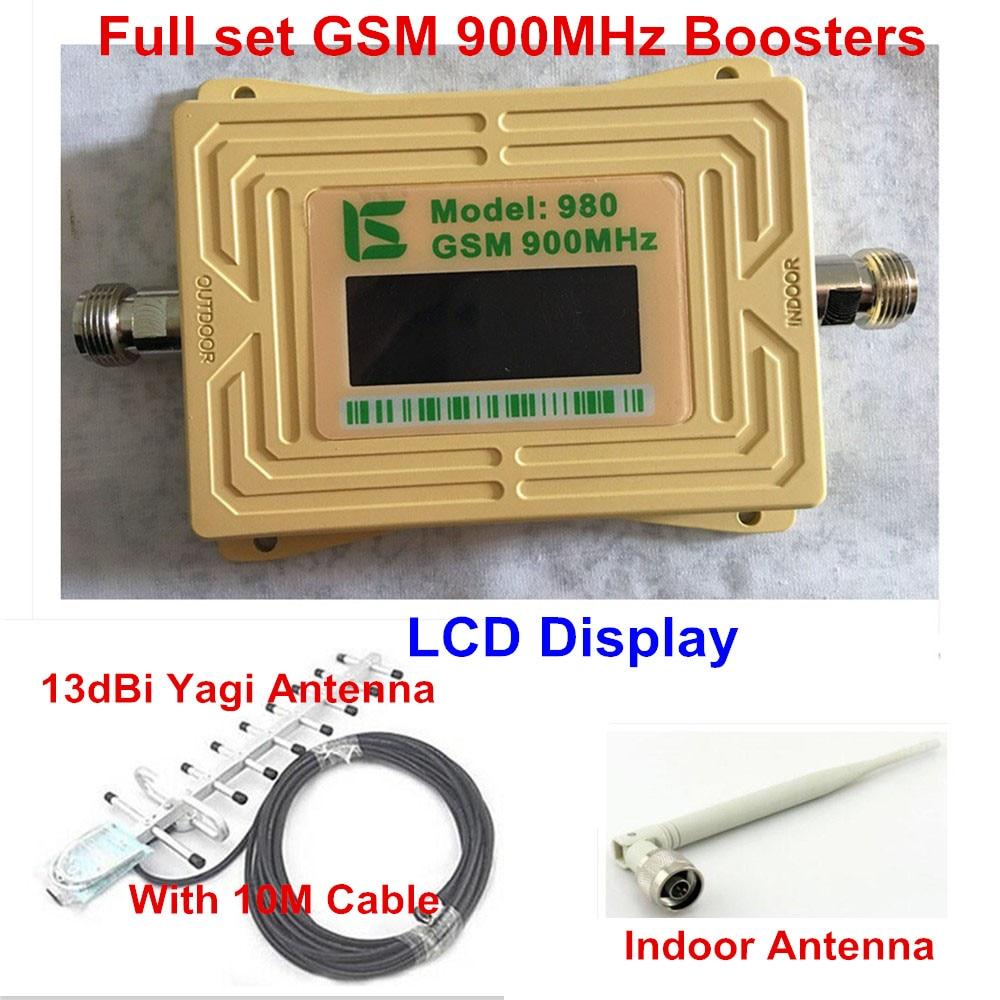 LCD Display GSM 900mhz Signal Amplifier GSM 900 65dB Cell Booster Cellular Signal Repeater GSM Amplifier +Yagi Antenna