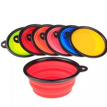 New Portable Lightweight Plate Pet Dog Food Drink Camping Travel Foldable Collapsible Bowl 6 Colors Wholesale