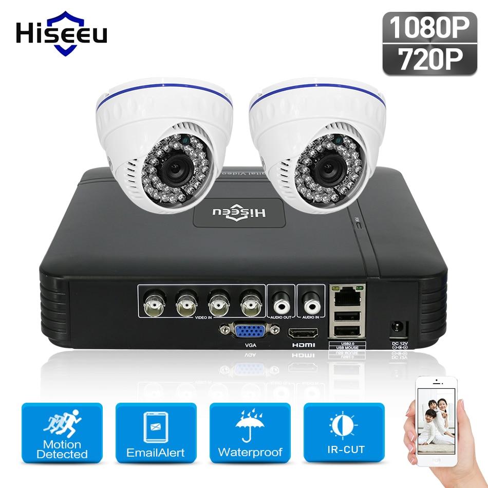 Hiseeu 4CH 1080N AHD DVR Kit CCTV Sistema 2 pz 720 P 1080 P AHD dome IR Telecamera di sicurezza HD 2MP P2P Sorveglianza di Sicurezza Set
