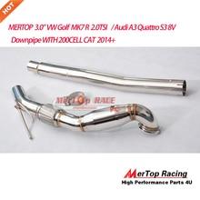 MERTOP Racing 3 ''турбо из нержавеющей водосточной трубы для A3 S3 8V TT/GO LF MK7 R 2,0 T с 200 ячейками cat