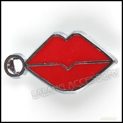 60pcs/lot Alloy Charms Necklace Pendant Enamel Red Sexy Lip Bead Fit Cell Phone&Mp3 Strap 140207