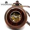 Rose Gold Steel Vintage Mechanical Pocket Watch Wood Circle Case Skeleton Hand Wind Pendant Clock Mens