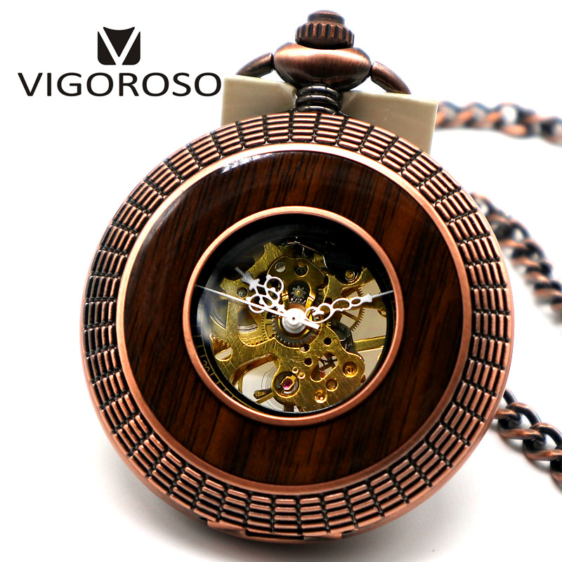 Rose gold steel Vintage Mechanical Pocket Watch Wood Circle Case Skeleton Hand wind Pendant Clock Mens With Fob Chain Gift Box russian vingtage silver soviet bolshevik mechanical fob pocket watch mens military pendant watch chain free ship