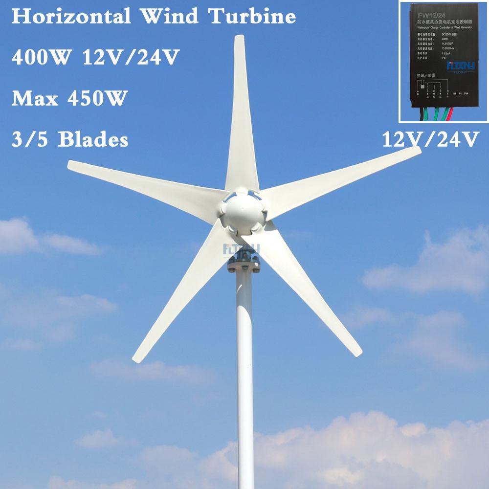 Éolienne horizontale 400 W 1.3 m start up triphasé AC 12 v 24 v 48 v éolienne avec régulateur automatique 12 V 24 V usage domestique