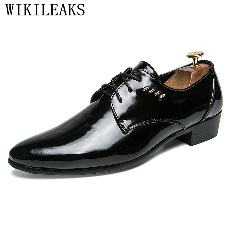 Luxury Brand Black Patent Leather Mens Dress Shoes Fashion Oxfords Business Formal Wedding Shoes Designer Oxford Shoes For Men