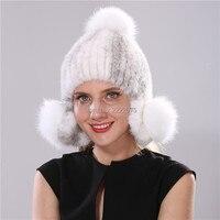 2017 new fur hat Women's new fur hat winter authentic mink fur fox fur knitted wool hat