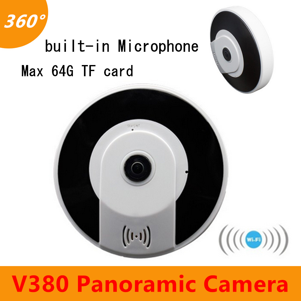 V380 Panoramic Wireless Wifi Camera support 64G TF card Two way voice built-in Microphone day and night monitor Security camera
