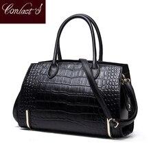 Mode femmes sacs en cuir véritable sacs à main Alligator haute qualité fermeture éclair conception noir rouge dame sacs de bureau