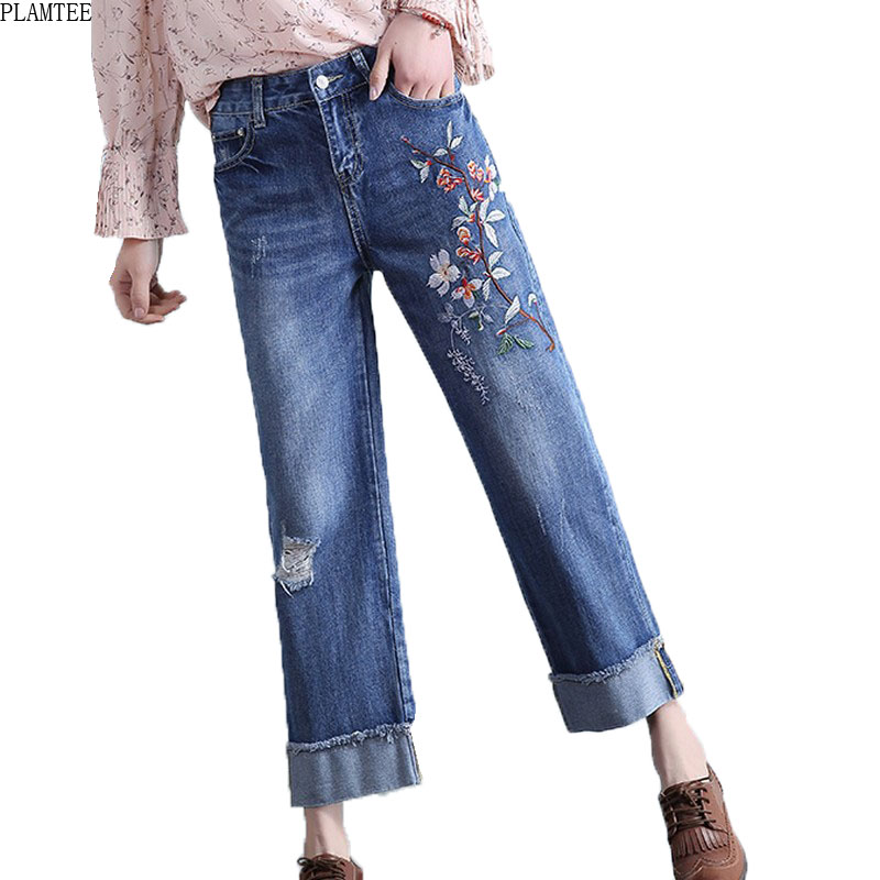 Embroidered Wide Leg Jeans For Women 2017 Ripped Jeans Feminina Plus Size Retro Vaqueros Rotos Mujer Loose Cuffs Jeans Femme