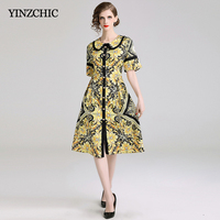 82f9265860 Summer New Womans Mid Dress Single Breasted Female Casual Print Dress  Floral Printed Baroque Style Dresses