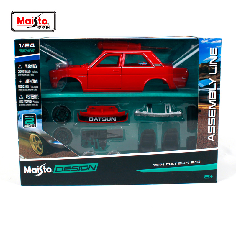 Maisto 1 24 Nissan 1971 DATSUN 510 Assembly DIY Retro performance car Diecast Model Car Toy