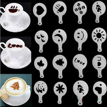 Fashion 16Pcs/set Cappuccino Coffee Barista Stencils Template Strew Pad Duster Spray Tools