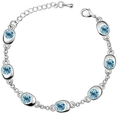 Подарок на день рождения, высокое качество, 7 бусин, Звездные глаза, браслеты с кристаллами, модные ювелирные изделия, 12 цветов, милые Подвески для женщин - Окраска металла: silver oceanblue