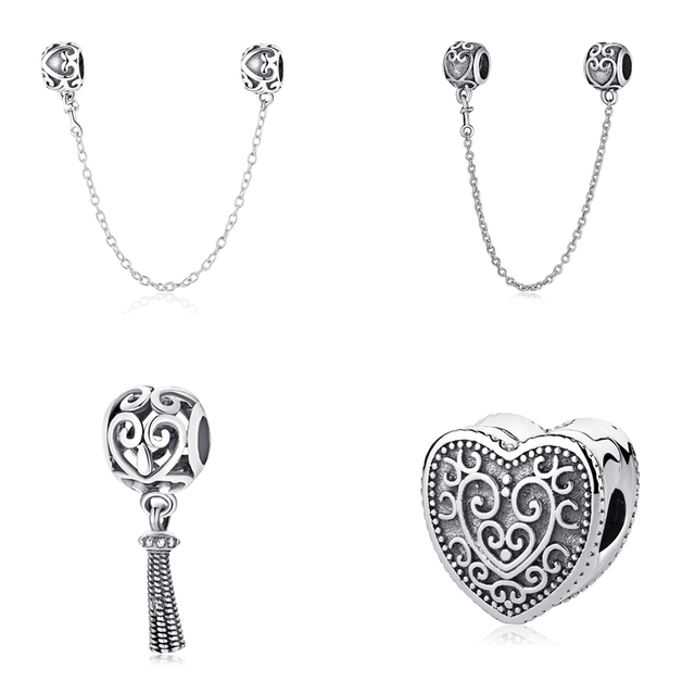 3bcb8febf Original 100% 925 Sterling Silver Charm Bead Enchanted Heart Pendant Safety  Chain Clip Charms Fit