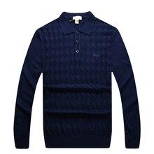 Sweater men's 2016 new style turn-down collar casual fashion comfortable rhombus pattern gentleman free shipping