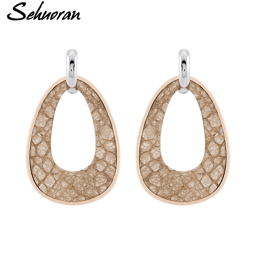 Sehuoran Earrings Bohemian of Zinc Alloy Water Drop with Artificial Leather Big Water Drop Feather Earrings Pendientes