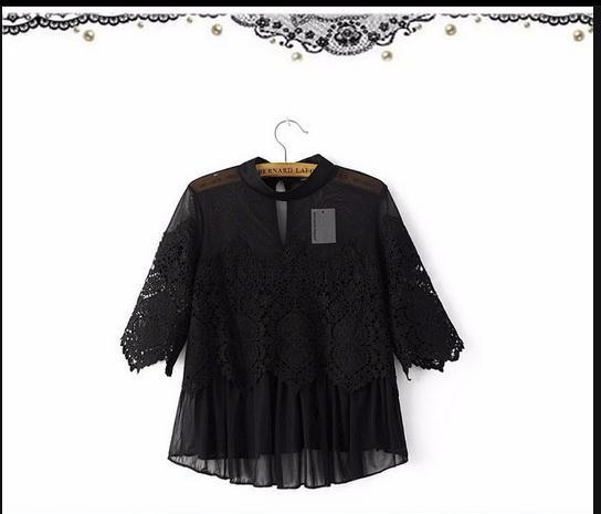 T353 969# 2017 spring summer women Lace Chiffon blouses ...