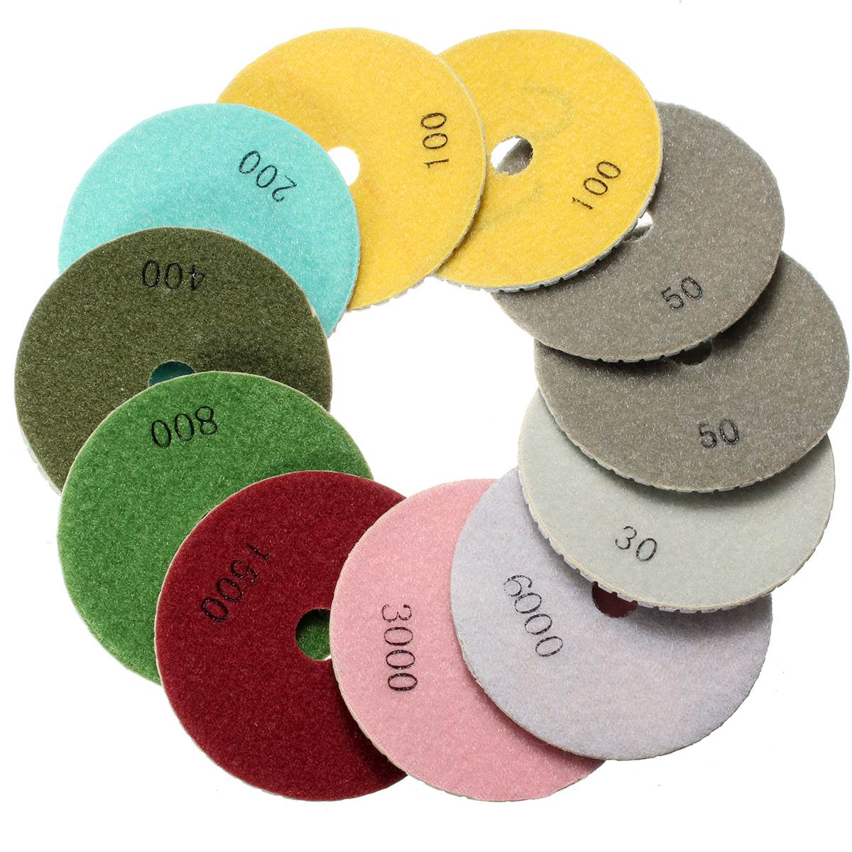 12Pcs 4 Inch 100mm Wet/Dry Diamond Polishing Pads For Granite Stone Concrete Marble Wholesale Price toolocity cpp06p1 6 inch dry 5 step diamond polishing pads for concrete pos 1