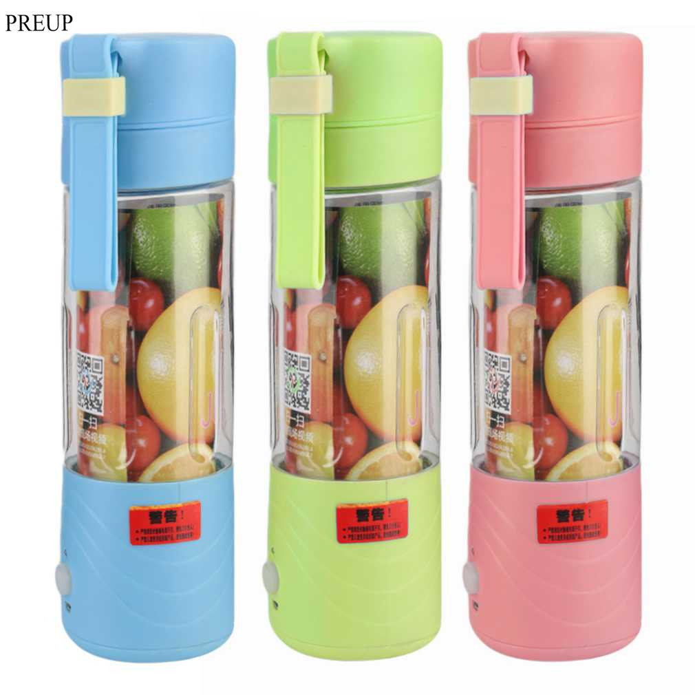 PREUP 2017 new fashion and high quality Portable Juicer Cup Rechargeable Battery Juice Blender 380ml USB
