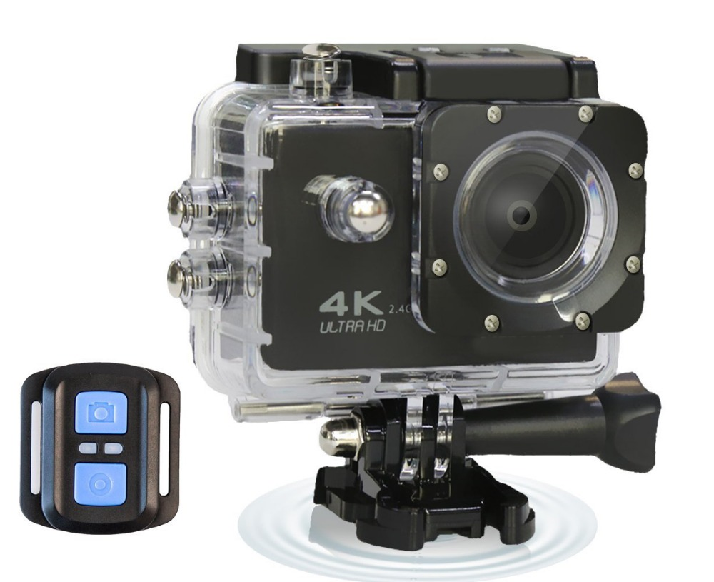 4K WIFI Ultra HD Waterproof Sports Action Camera 16MP Remote Control 170 Degree Wide Angle 2.0 Inch LCD 100 Feet Underwater 2017 original eken h9r sports action camera 4k ultra hd 2 4g remote wifi 170 degree wide angle