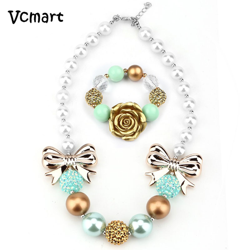 Vcmart Vcmart Luxury Princess Chunky Bubblegum Necklace with Bracelet Imitate Pearl Bow Necklace Jewlery set Best Gift