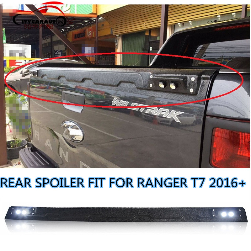 CITYCARAUTO LED BLACK REAR SPOILER TAIL WING FIT FOR RANGER T7 TXL 2016 2017 PICKUP REAR SPOILERS WITH LED yandex w205 amg style carbon fiber rear spoiler for benz w205 c200 c250 c300 c350 4door 2015 2016 2017