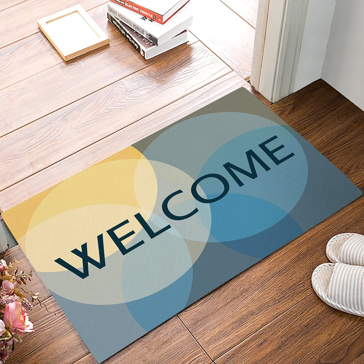 Neon Light Color Blocked Circular Geometric Welcome Door Mats ...