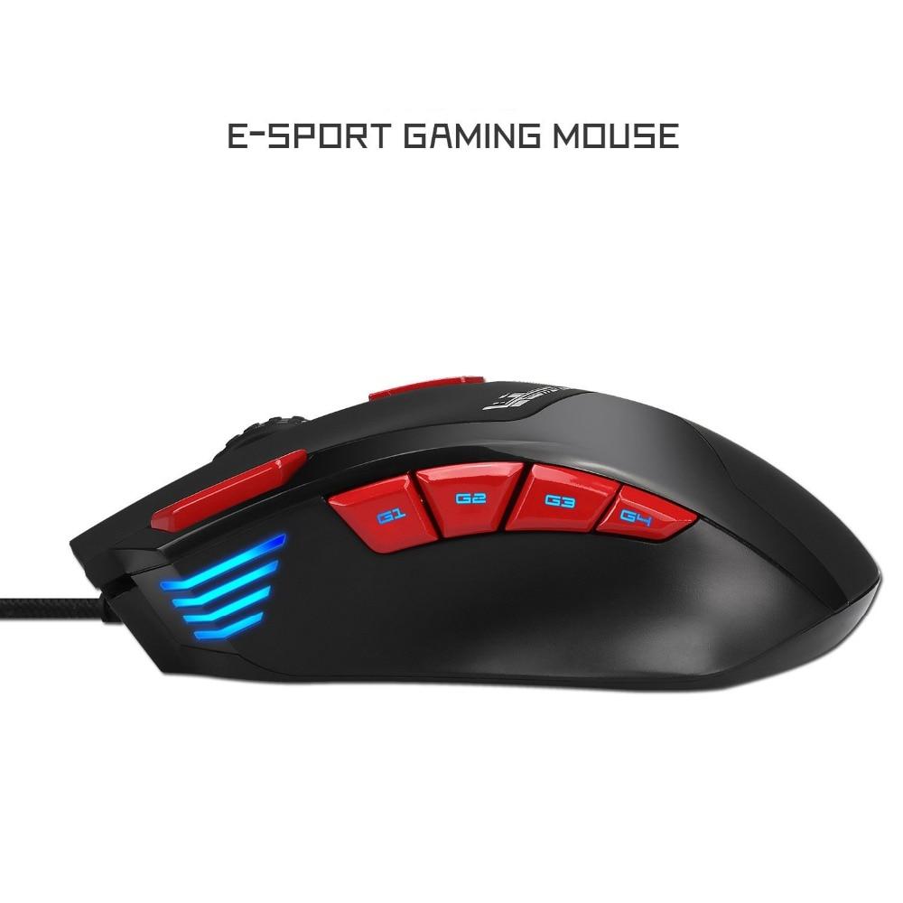 Hongsund Programmable Gaming Mouse 9 key illuminable mouse up to 6000 dpi RGB Backlit USB Wired Optical Gamer 5
