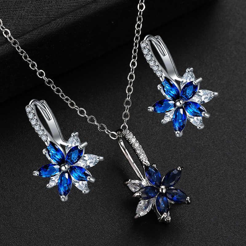 CARSINEL Marke 11 Farben Fashion Cubic Zirkon Halskette Ohrringe Set für frauen Silber farbe Blume Hochzeit Schmuck Set Geschenke