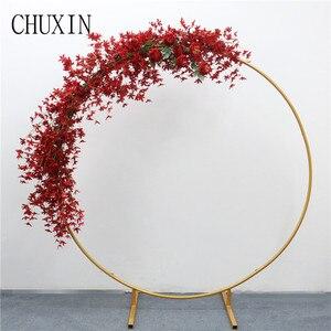 Image 2 - 200cm מלאכותי יצוק ברזל עגול טבעת קשת דלת דקור סימולציה פרח שורה בית חג חגיגת חתונה צילום 1pc