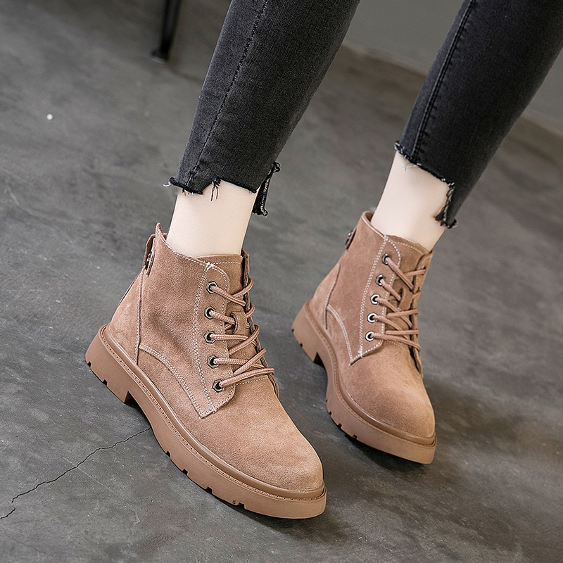 Kiiyilala Genuine Leather Women Motorcycle Boots Lace up Round Toe Woman Ankle Boots Shoes Fashion Autumn Winter Ladies Booties in Ankle Boots from Shoes