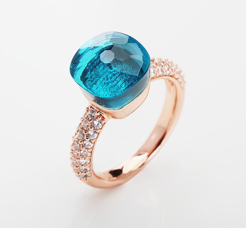 Fashion Jewelry Zircon With Big Crystal Ring For Women Best Gift 13 Colors