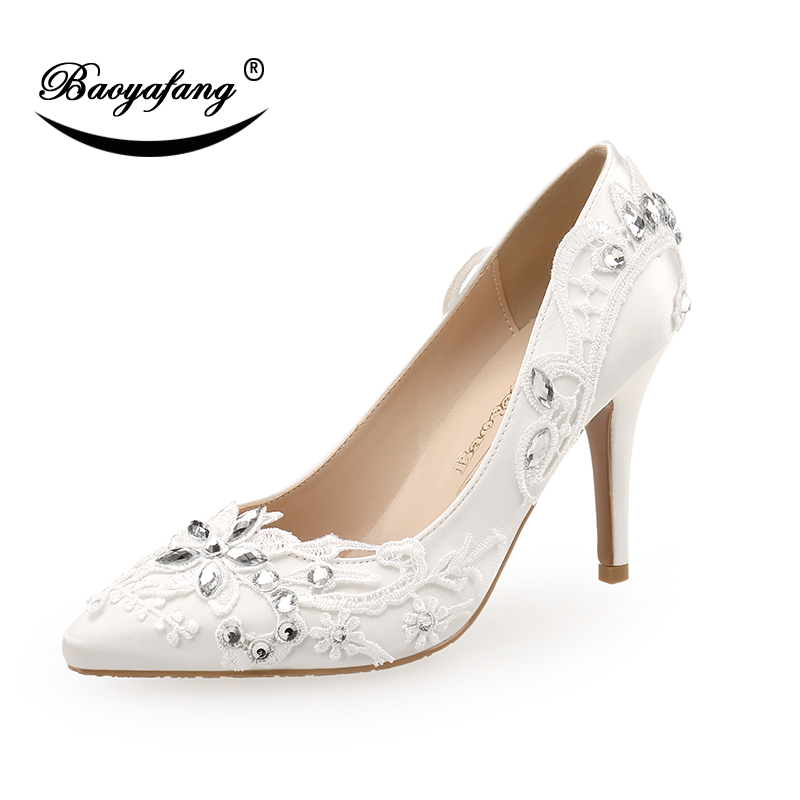 Pointed Toe White Lace shoes Women Wedding shoes 9cm High heels Pumps sweet Bridesmaid dress shoe Thin Heel High shoe crystal