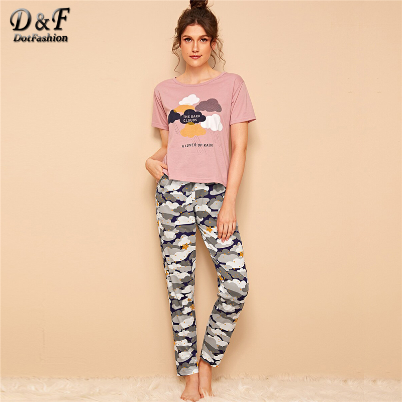 Dotfashion Summer Pajamas For Women Cloud And Star Print Top And Pants Set 2019  Short Sleeve Sleepwear Female Long Pajama Sets