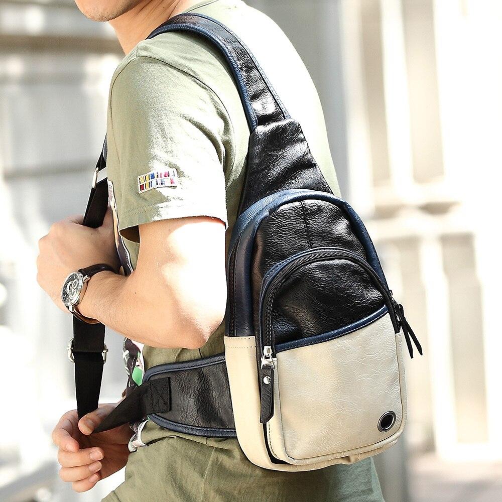 Online Shop PU leather chest bag men camera sling bag bolsa ...