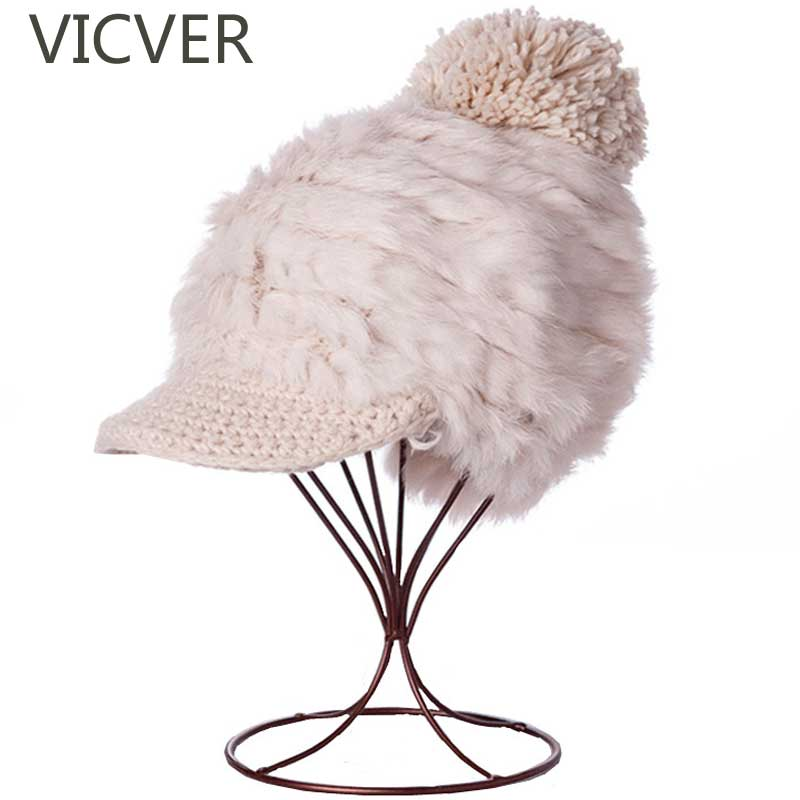2018 Winter Knit Cap With Visor Rabbit Fur Hats Women Winter Knitting Wool   Beanies   Caps Pom Pom Female   Skullies     Beanie   Warm Hat