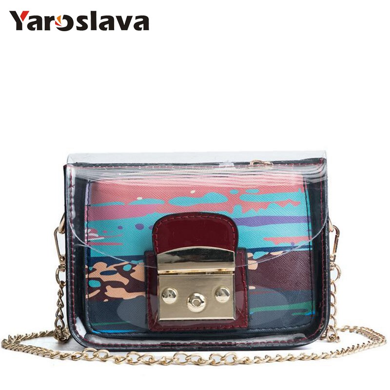 Female Transparent Bag New Chain Straps Shoulder Bag Korean Jelly Women handbag Small Crossbody Bag Printing Composite Bag LL714