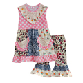 Big Promotion Summer Style Girls Boutique Clothing Set Multi-pattern Patchwork Pink Dot Ruffle Pants Kids Fashion S088