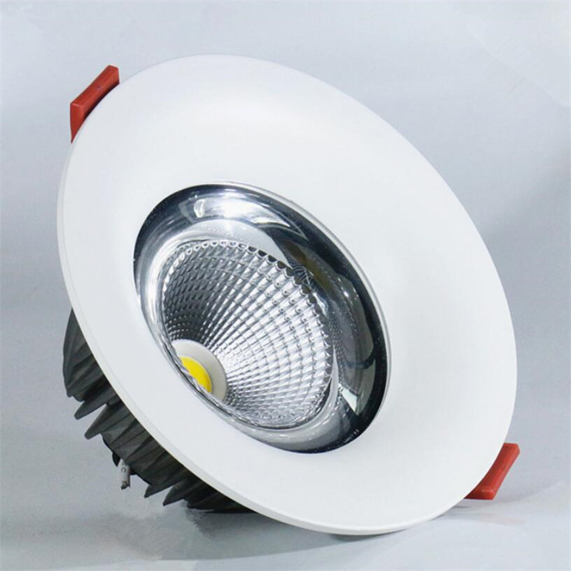 Free Shipping AC 85-265V Led Down Lights COB 12W 15W 20W High Power Downlights Recessed Ceiling downLights + Drivers