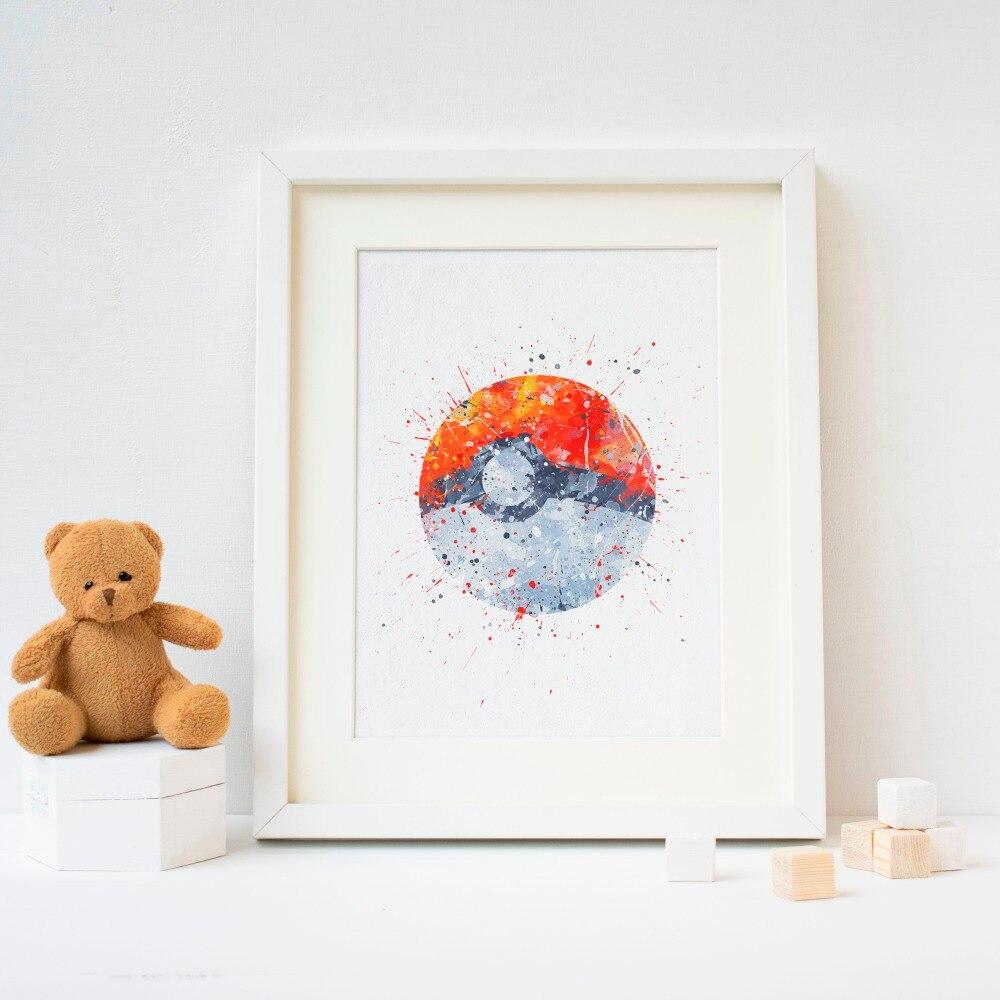 Pokeball ,poke ball  picture print . Pokemon Watercolor Poster Print  Print Kids Room Decor boy Nursery Art Gift idea wall 1