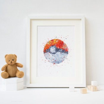Pokeball ,poke ball  picture print . Pokemon Watercolor Poster Print  Print Kids Room Decor boy Nursery Art Gift idea wall 1