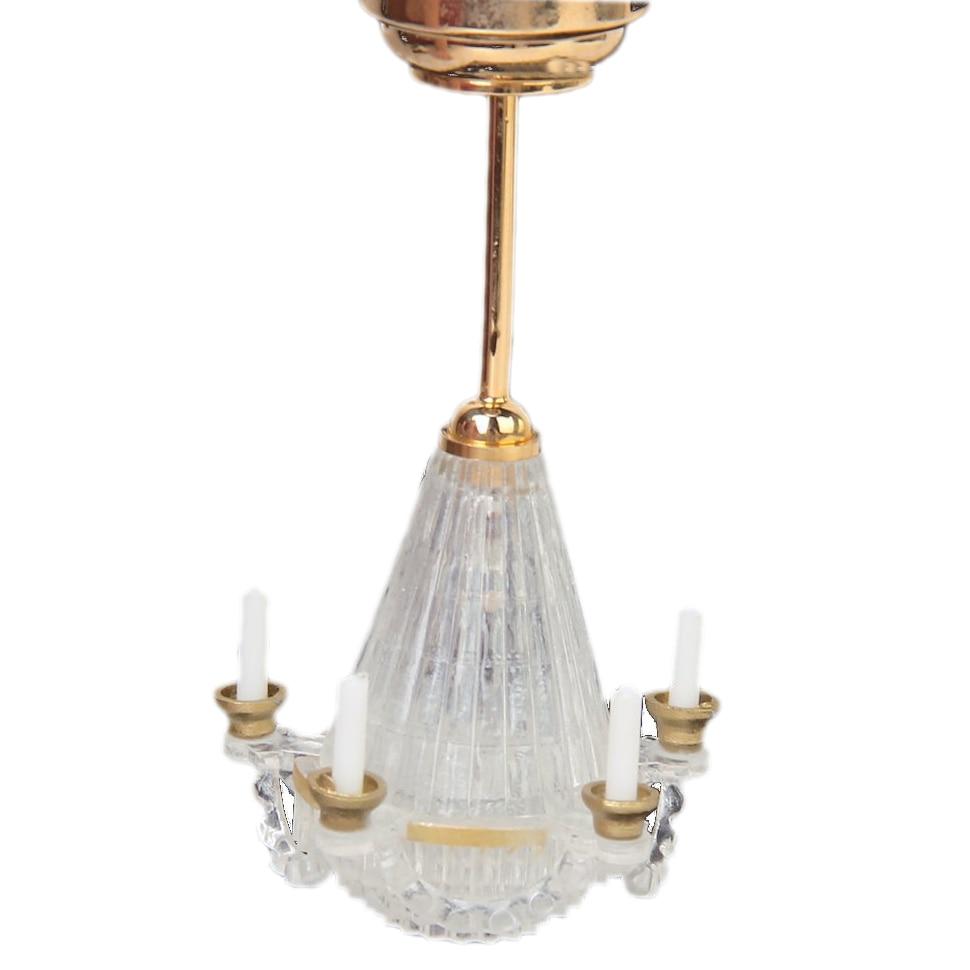 1:12 Dollhouse Miniatures Lichtstativ Five False Transparent Candle Chandelier LED Golden 1 12 dollhouse miniatures furniture re ment refrigerator hearth integral kitchen lampblack machine